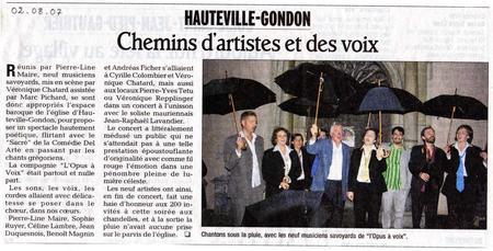 Dauphiné Libéré 02/08/2007
