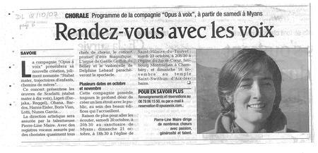 Dauphiné Libéré 18/10/2007